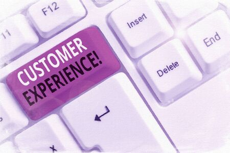 Text sign showing Customer Experience. Business photo showcasing product of interaction between organization and buyer White pc keyboard with empty note paper above white background key copy space