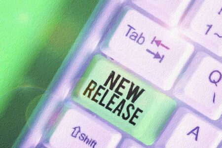 Word writing text New Release. Business photo showcasing announcing something newsworthy recent product in the market 스톡 콘텐츠