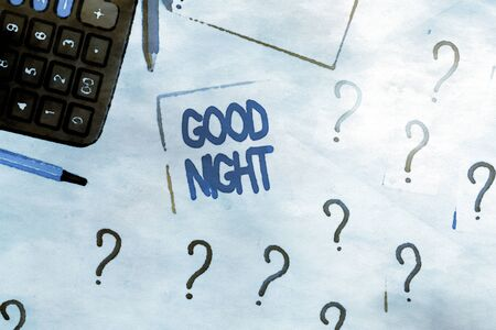 Handwriting text Good Night. Conceptual photo expressing good wishes on parting at night or before going to bed Mathematics stuff and writing equipment above pastel colours background 版權商用圖片