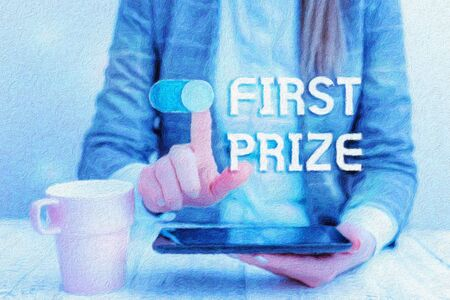 Text sign showing First Prize. Business photo text the most desirable or grand prize offered for the overall winner Business woman sitting with mobile phone and cup of coffee on the table