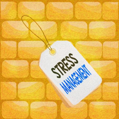 Handwriting text writing Stress Management. Conceptual photo method of limiting stress and its effects by learning ways Label rectangle empty badge attached string colorful background tag small