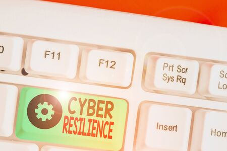 Word writing text Cyber Resilience. Business photo showcasing measure of how well an enterprise can analysisage a cyberattack