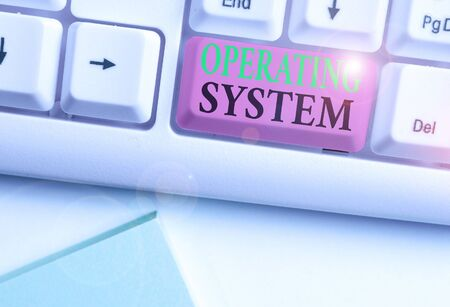 Word writing text Operating System. Business photo showcasing software that supports a computer s is basic functions Stock Photo - 135318258