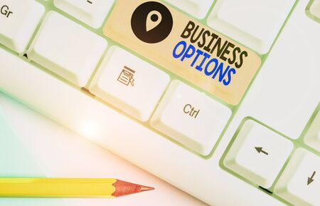 Text sign showing Business Options. Business photo showcasing one thing that can be chosen from a set of possibilities Foto de archivo