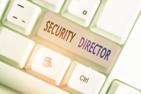 Writing note showing Security Director. Business concept for head of a private security force working for a business
