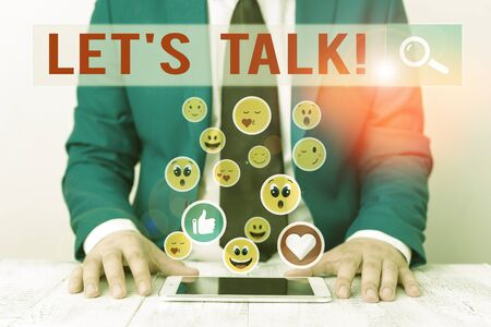 Text sign showing Let S Talk. Business photo showcasing they are suggesting beginning conversation on specific topic