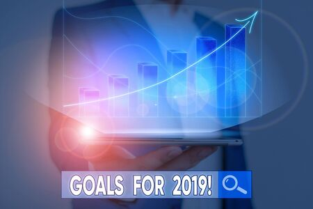 Word writing text Goals For 2019. Business photo showcasing object of demonstratings ambition or effort aim or desired result 版權商用圖片