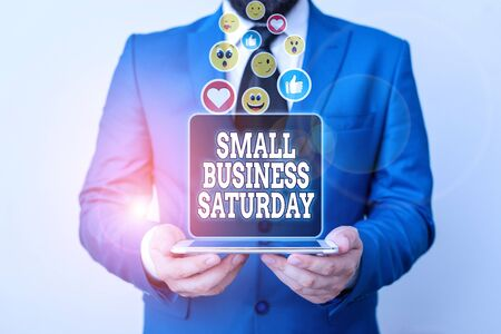 Handwriting text writing Small Business Saturday. Conceptual photo American shopping holiday held during the Saturday Banco de Imagens - 135532873