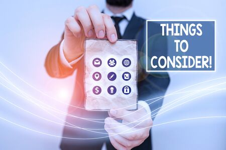Text sign showing Things To Consider. Business photo text think about something carefully in order to make decision 版權商用圖片