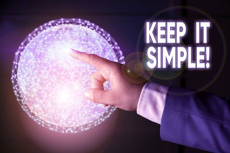 Conceptual hand writing showing Keep It Simple. Concept meaning ask something easy understand not go into too much detail Elements of this image furnished by NASA