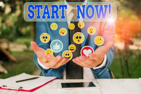 Word writing text Start Now. Business photo showcasing do not hesitate get working or doing stuff right away