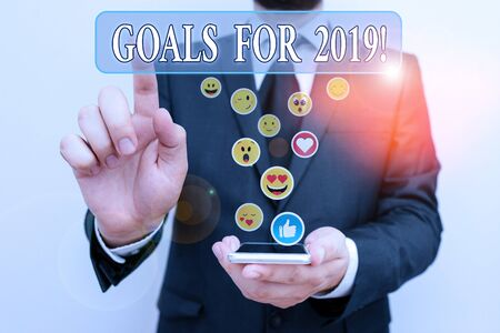 Text sign showing Goals For 2019. Business photo text object of demonstratings ambition or effort aim or desired result 版權商用圖片