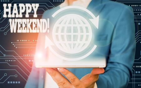Text sign showing Happy Weekend. Business photo text something nice has happened or they feel satisfied with life