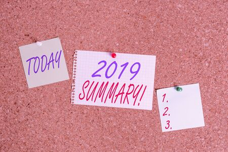 Text sign showing 2019 Summary. Business photo showcasing summarizing past year events main actions or good shows Corkboard color size paper pin thumbtack tack sheet billboard notice board