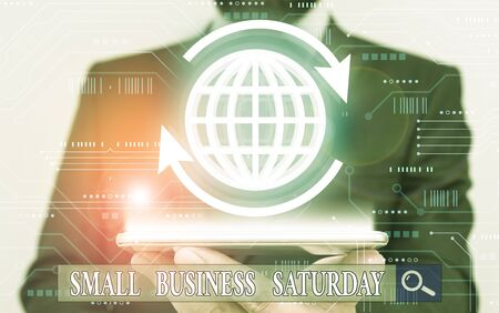 Word writing text Small Business Saturday. Business photo showcasing American shopping holiday held during the Saturday