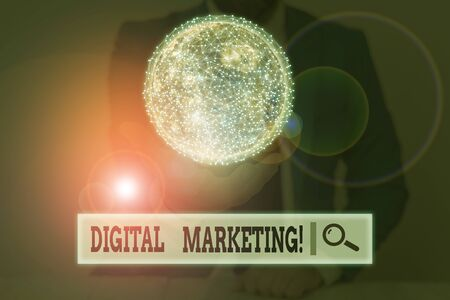 Writing note showing Digital Marketing. Business concept for market products or services using technologies on Internet 版權商用圖片