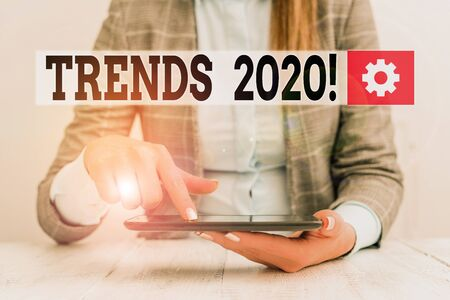 Handwriting text Trends 2020. Conceptual photo general direction in which something is developing or changing Business concept with communication mobile phone