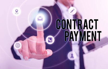 Handwriting text Contract Payment. Conceptual photo payments made by payer to the payee as per agreement terms