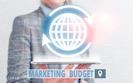 Conceptual hand writing showing Marketing Budget. Concept meaning estimated amount of cost required to promote products