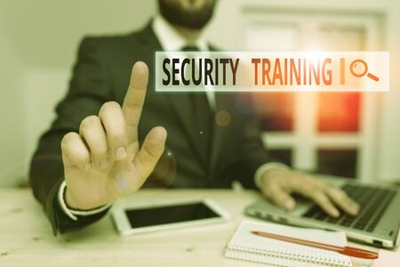 Word writing text Security Training. Business photo showcasing providing security awareness training for end users Male human wear formal clothes present presentation use hi tech smartphone