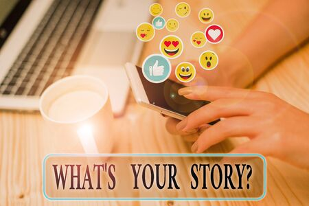 Writing note showing What S Is Your Story question. Business concept for being asked by someone about my own journey Stock fotó