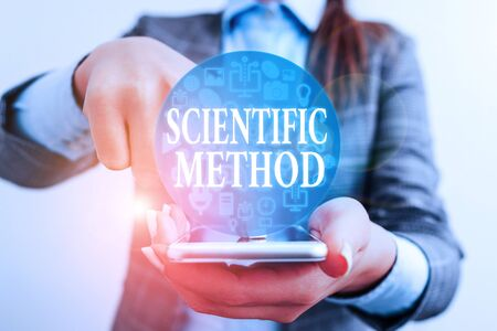 Texte de l'écriture écrit méthode scientifique. Méthode de procédure photo conceptuelle qui a caractérisé les sciences naturelles