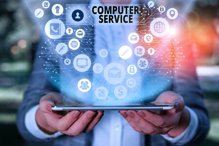 Handwriting text Computer Service. Conceptual photo computer time or service including data processing services