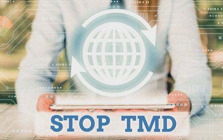 Writing note showing Stop Tmd. Business concept for Prevent the disorder or problem affecting the chewing muscles
