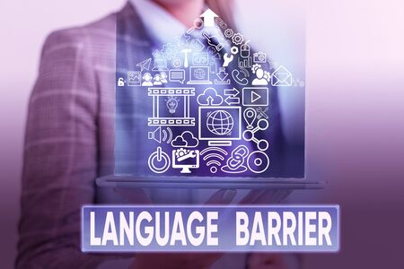 Text sign showing Language Barrier. Business photo text difficulties in communication Speaking different language Stok Fotoğraf