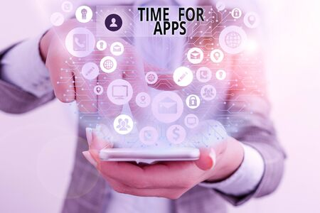 Writing note showing Time For Apps. Business concept for The best fullfeatured service that helps communicate faster