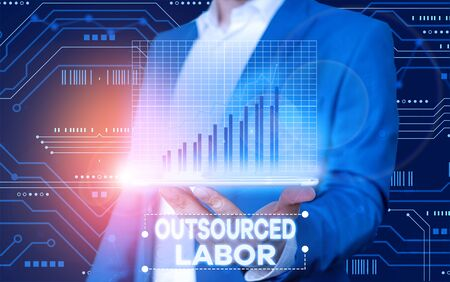Conceptual hand writing showing Outsourced Labor. Concept meaning jobs handled or getting done by external workforce