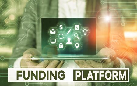 Writing note showing Funding Platform. Business concept for service that allows investments to be bought online