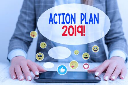 Word writing text Action Plan 2019. Business photo showcasing proposed strategy or course of actions for current year 写真素材