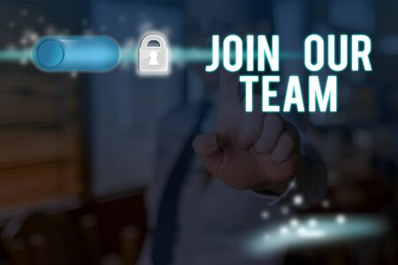 Text sign showing Join Our Team. Business photo text Hiring Vacancy Huanalysis resource recruitment Manpower hunt