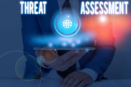 La grafia la scrittura di testo valutazione della minaccia. Foto concettuale che determina la gravità di una potenziale minaccia