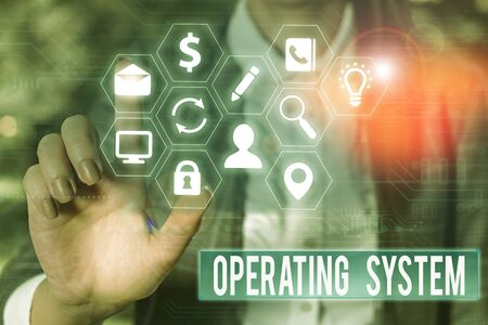 Conceptual hand writing showing Operating System. Concept meaning software that supports a computer s is basic functions Stock Photo - 135395345