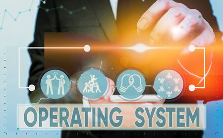 Text sign showing Operating System. Business photo showcasing software that supports a computer s is basic functions Stock Photo - 135395763