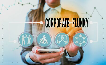 Handwriting text writing Corporate Flunky. Conceptual photo someone who works obediently for another demonstrating in company