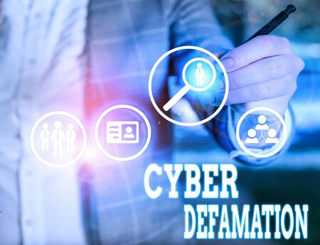 Conceptual hand writing showing Cyber Defamation. Concept meaning slander conducted via digital media usually by Internet