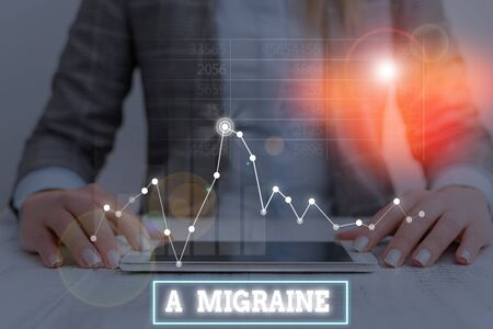 Text sign showing A Migraine. Business photo showcasing recurrent throbbing headache that affects one side of the head Reklamní fotografie