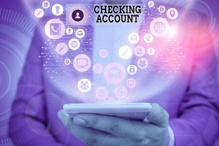 Writing note showing Checking Account. Business concept for bank account that allows you easy access to your money Banco de Imagens