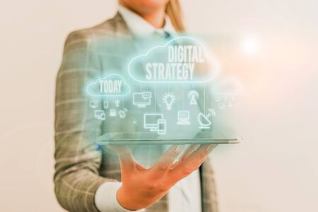 Conceptual hand writing showing Digital Strategy. Concept meaning plan for maximizing the business benefits of data assets Foto de archivo