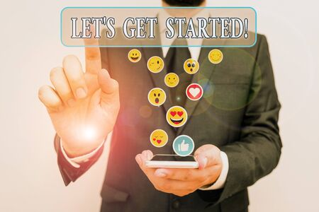 Text sign showing Let S Get Started. Business photo text encouraging someone to begin doing something