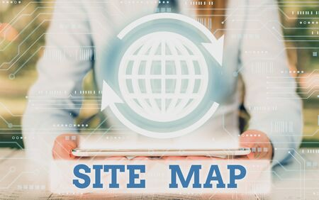 Writing note showing Site Map. Business concept for designed to help both users and search engines navigate the site