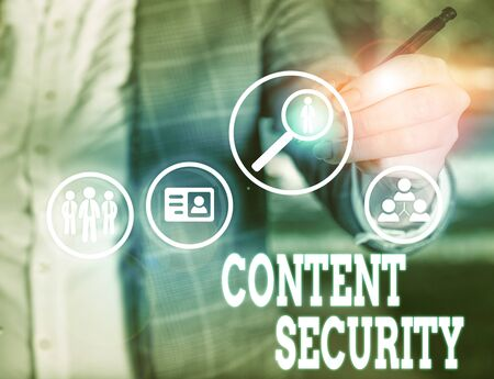 Conceptual hand writing showing Content Security. Concept meaning the protection against deliberate threats to content