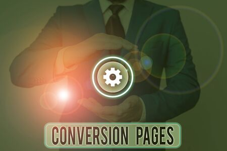 Text sign showing Conversion Pages. Business photo text appears in response to clicking on a search engine