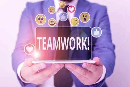 Writing note showing Teamwork. Business concept for combined action of group especially when effective and efficient Reklamní fotografie