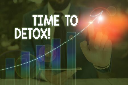Text sign showing Time To Detox. Business photo text when you purify your body of toxins or stop consuming drug Stock Photo