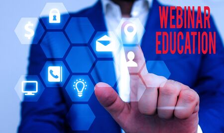 Text sign showing Webinar Education. Business photo text online meeting or presentation held via the Internet