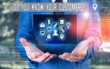 Writing note showing Do You Know Your Customers question. Business concept for asking to identify a customer s is nature